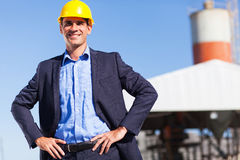 Industrial manager. Handsome industrial manager portrait outdoors Stock Image