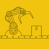 Industrial manipulator or mechanical robot arm. Royalty Free Stock Images