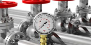 Industrial manometer on blur pipelines and valves background. 3d illustration. Industrial manometer on blur pipelines and valves background. Closeup view with Stock Images