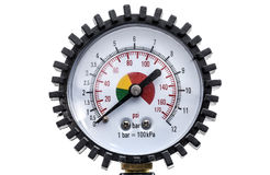 Industrial manometer pressure gauge isolated on a white backgrou Stock Image