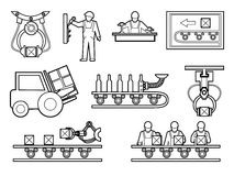 Industrial and manufacturing process icons set in Royalty Free Stock Images