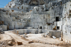Industrial marble quarry site on Carrara, Tuscany,. Marble Quarry site in Apuan Alps , Carrara, Tuscany, Italy stock photography