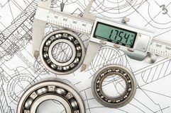 Measurement of diameter of the bearing Stock Images