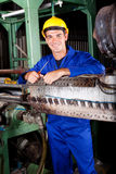 Industrial mechanic. Happy industrial mechanic in heavy industry plant stock photography