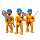 Industrial Mechanic. Three orange cartoon characters with blue helmets and tools in the hands. White background Stock Photography