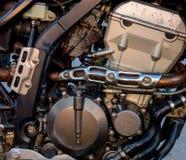 Industrial mechanical background. Modern motorbike engine. Vintage motorcycle closeup. Motor of mechanic bike. Transport motorbike. Modern bike repair workshop Stock Photo
