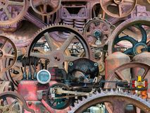 Industrial Mechanical Machine Parts Background. Background of real industrial machine parts. Each part is from a vintage mechanical device and is covered with stock image