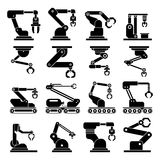 Industrial mechanical robot arm vector icons Royalty Free Stock Photography