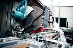Industrial metal cutting tool in factory Stock Photography
