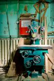 Industrial metal drilling tool in factory. Royalty Free Stock Images