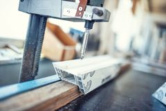 Industrial metal drilling tool in factory. Metal industry Stock Images
