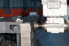 Industrial metal machining cutting process of blank detail by mi Stock Photography