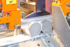 Industrial metal machining cutting process of blank. In the industrial factory stock images