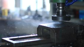 Industrial metal machining cutting process stock footage