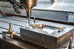 Industrial metal mold/die milling. Metalworking. Royalty Free Stock Photography