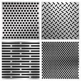 Industrial metal perforated vector textures, metallic grids set Stock Photo