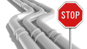 Industrial metal pipeline with stop sign on white. Background Royalty Free Stock Photography