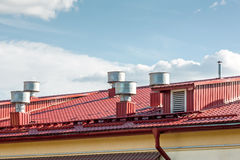 Industrial metal roof with ventilation system Royalty Free Stock Image