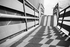 Industrial metal staircase perspective Royalty Free Stock Photos