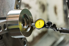 Industrial metal work machining process by cutting tool on CNC l. Athe Royalty Free Stock Images