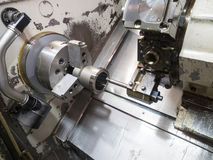 Industrial metal work machining process by cutting tool on CNC l Stock Image