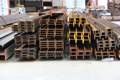 Industrial metalic bars in yard Stock Photos