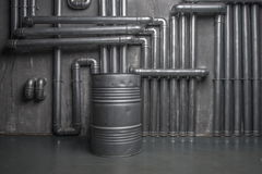 Industrial metallic interior with barrel Royalty Free Stock Images