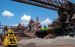 Industrial Metallurgical Plant. View on Blast Furnaces and Technological Equipment at Steel and Iron Works Plant in Ukraine stock image