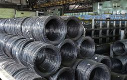 Industrial metallurgical rod warehouse Stock Photo