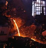 Industrial metallurgy. Sinter production and ipon making. Steel casting Stock Photo