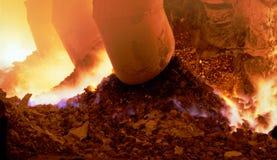 Industrial metallurgy. Technological process, arson inwardly. Blast-furnace on plant ferroalloy Royalty Free Stock Photos