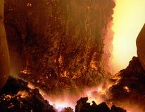 Industrial metallurgy. Technological process, arson inwardly. Blast-furnace on plant ferroalloy Royalty Free Stock Photography