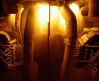 Industrial metallurgy. Technological process, arson inwardly. Blast-furnace on plant ferroalloy Stock Photography