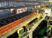 Industrial metallurgy. Two plants one plant  with plug mill, and a continuous rolling mill Stock Photography