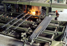 Industrial metallurgy. Seamless pipes for doilers and pipe-lines of hign-temperature steel Royalty Free Stock Photos