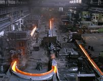 Industrial metallurgy. Continuous rolling mill. Pipes industries Royalty Free Stock Photography