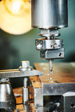 Industrial metalworking boring cutting process by milling cutter Stock Photos