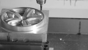 Industrial metalworking cutting process by milling cutter stock video footage