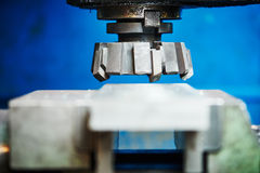 Industrial metalworking cutting process by milling cutter Royalty Free Stock Photography