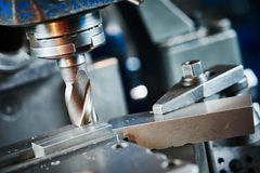 Industrial metalworking cutting process by milling cutter Royalty Free Stock Images