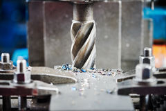 Industrial metalworking cutting process by milling cutter Stock Photography