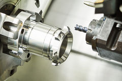 Industrial metalworking cutting process by milling cutter Stock Image
