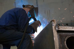 Industrial mig welder 2. Industrial mig welder at work royalty free stock images