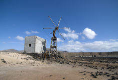 Industrial mill. In the fields of Lanzarote royalty free stock image