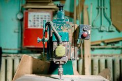 Industrial milling tool at local factory. Manual lathe, tools Royalty Free Stock Image