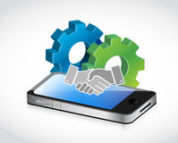 industrial mobile handshake concept Stock Photography
