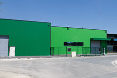 A Industrial modern building color. The exterior of a modern warehouse stock photos