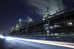 Industrial night view Stock Photos