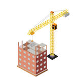 Industrial objects isometrics. Under construction, houses and buildings royalty free illustration