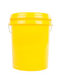 Industrial oil and lubricant product. Yellow plastic bucket with yelllow lid. Product Packaging for lubricant, oil Stock Photo